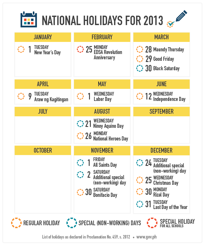 Your ultimate 2013 Philippine holiday guide for your long weekends. :)