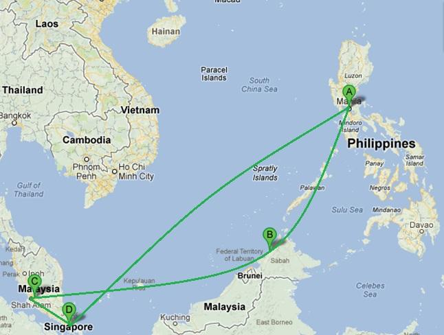 I completed Manila > Kota Kinabalu > Kuala Lumpur > Singapore in 7 days.