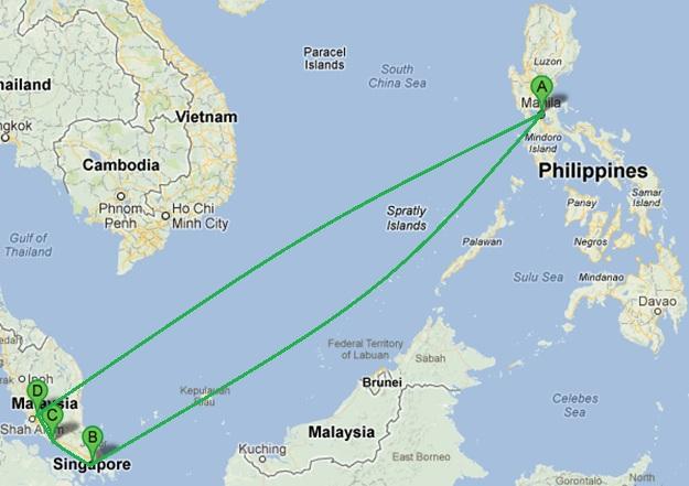Manila > Singapore > Malacca > Kuala Lumpur > Manila