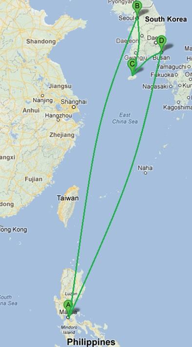 Manila > Seoul > Jeju Island > Busan > Manila